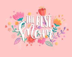 A melhor mãe com letras handdrawn. vetor
