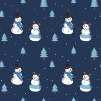 padrão sem emenda com bonecos de neve sorridentes fofos e árvores de Natal vetor