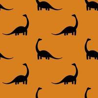 padrão sem emenda com dinossauros diplodocus em um fundo laranja vetor