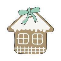 feliz ano novo casa de pão de mel com glacê e laço azul vetor