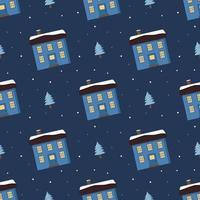padrão sem emenda com casas bonitas com um telhado brilhante na neve vetor