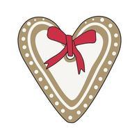 feliz ano novo pão de mel com glacê em forma de coração e um laço vermelho vetor