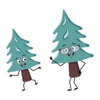 personagem fofa da árvore de natal alegre com emoções vetor