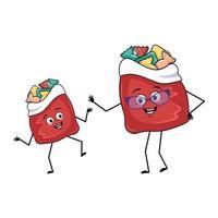 personagem de bolsa vermelha fofa com presentes de ano novo e emoções felizes vetor