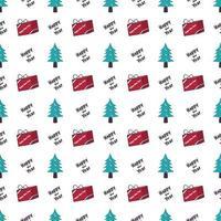 padrão sem emenda com árvore de natal, presente e palavras vetor
