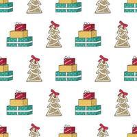 padrão sem emenda com árvore de Natal de gengibre, presente e palavras vetor