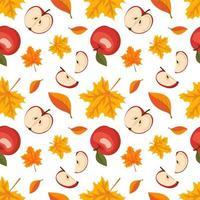 Outono sem costura padrão com folhas de bordo e maçãs vermelhas vetor