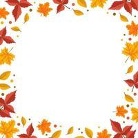 quadro de outono com folhas de bordo laranja e sorveira vetor