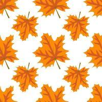padrão de outono com folhas de bordo laranja. impressão de outono brilhante vetor