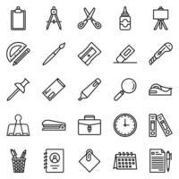conjunto de ícones de artigos de papelaria - ilustração vetorial. vetor