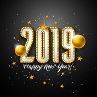 Ilustração de feliz ano novo de 2019 vetor