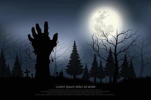 mão fantasma apareceu na noite de lua cheia. vetor