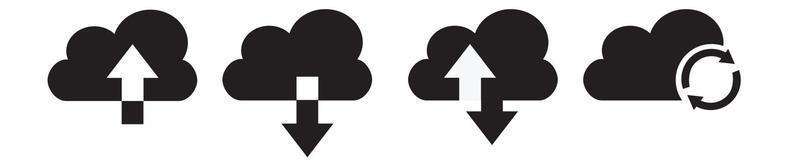 ícone de download e upload da nuvem. upload baixar seta nuvem. vetor
