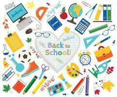 coleção de vetores de material escolar e conjunto de ícones isolados de imagens