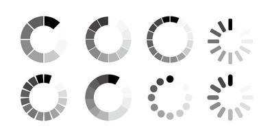 conjunto de ícones de carregamento em linha no fundo em branco vetor