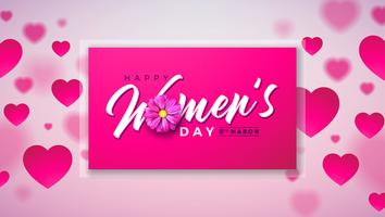8 de março o dia da mulher feliz vetor