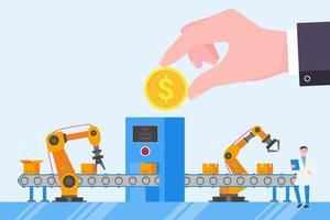 investimento de linha automatizada vetor