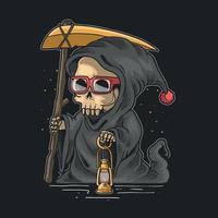 Ilustração em vetor fofo ceifador noite de halloween