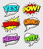 Bolhas do discurso em quadrinhos vetor