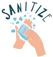 lavar as mãos com sabão. higienizar. conceito de higiene. vetor