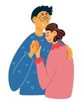 feliz casal de jovens amantes se abraçando. mão desenhar casal em um relacionamento vetor