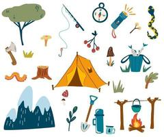 conjunto de acampamento e caminhada. equipamento turístico. vetor