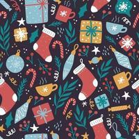 Natal engraçado padrão sem emenda com elementos vetor