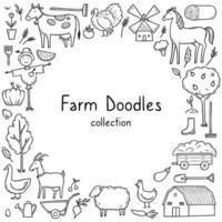 quadro desenhado à mão com animal de fazenda vetor