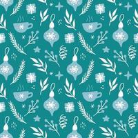 ilustração de padrão sem emenda floral de Natal. vetor