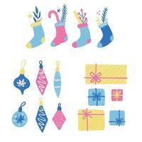 conjunto de bola de decoração de Natal, meia, doces, caixa de presente. vetor