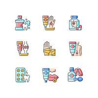 conjunto de ícones de cores de bolsa de primeiros socorros rgb vetor