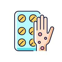 pílulas para alergia ícone colorido rgb vetor