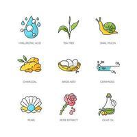 Conjunto de ícones de cores rgb de ingredientes cosméticos vetor