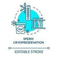ícone do conceito turquesa de criopreservação de esperma vetor