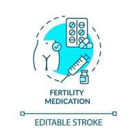 ícone do conceito turquesa de medicamento para fertilidade vetor