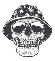 Crânio Rasta em Chapéu e Óculos de Sol