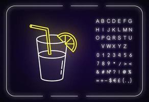 bebida longa, ícone de luz de néon de coquetel vetor