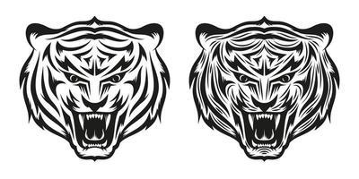 cabeça de tatuagem de tigre rosnando em duas versões vetor