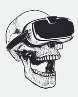 Crânio em óculos de realidade virtual vetor