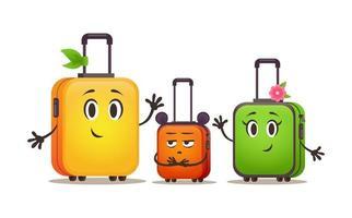 pequeno conjunto de bagagem familiar. malas de viagem em viagem. grupo de malas vetor
