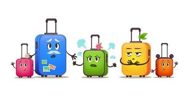 viagem engraçada malas família de férias. malas definidas em tamanhos diferentes vetor
