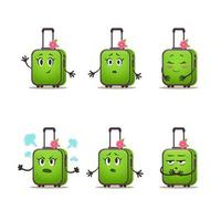 conjunto de emoção de mala de viagem de mulher. pacote de mala de vetor desenho animado