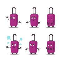 pacote de mala violeta plana vetor. conjunto de mala de viagem no conjunto de emoções de wheells. vetor