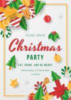 cartaz da festa de Natal com elemento de Natal de papercut. vetor