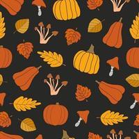 colheita de outono vetor padrão sem emenda em fundo preto