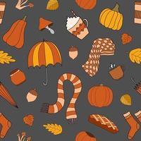 outono tempo vetor padrão sem emenda em fundo cinza