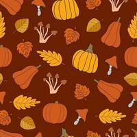 colheita de outono vetor padrão sem emenda em fundo vermelho