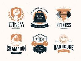 Emblemas de fitness retrô vetor