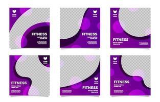 coleção de modelos de postagem de mídia social de fitness vetor