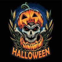 abóbora de halloween e tem uma caveira dentro vetor